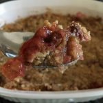 Strawberry rhubarb crisp with cinnamon oatmeal streusel