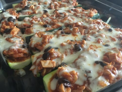 Zucchini Enchilada Boats with Chicken