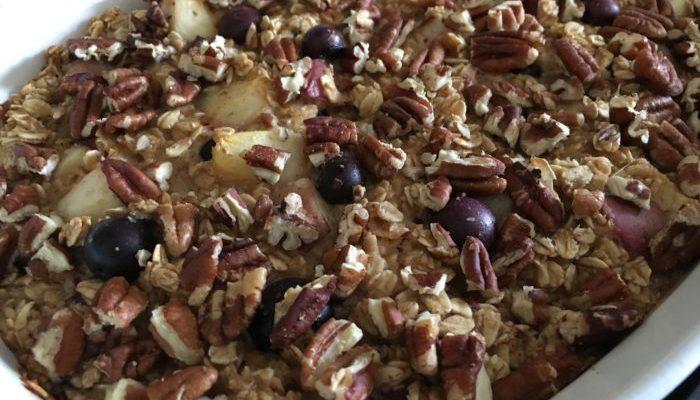 Blueberry Nectarine Baked Oatmeal