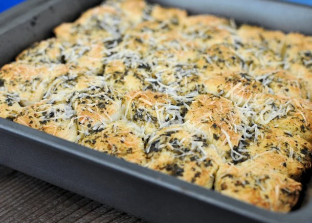 Quick Pesto Parmesan Dinner Rolls