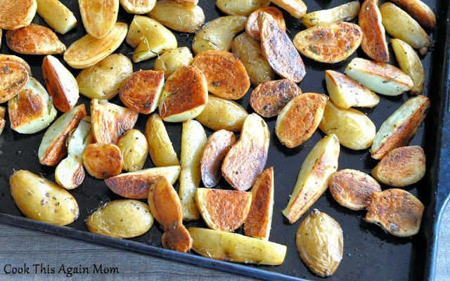 Rosemary Roasted Potatoes on a baking sheet.