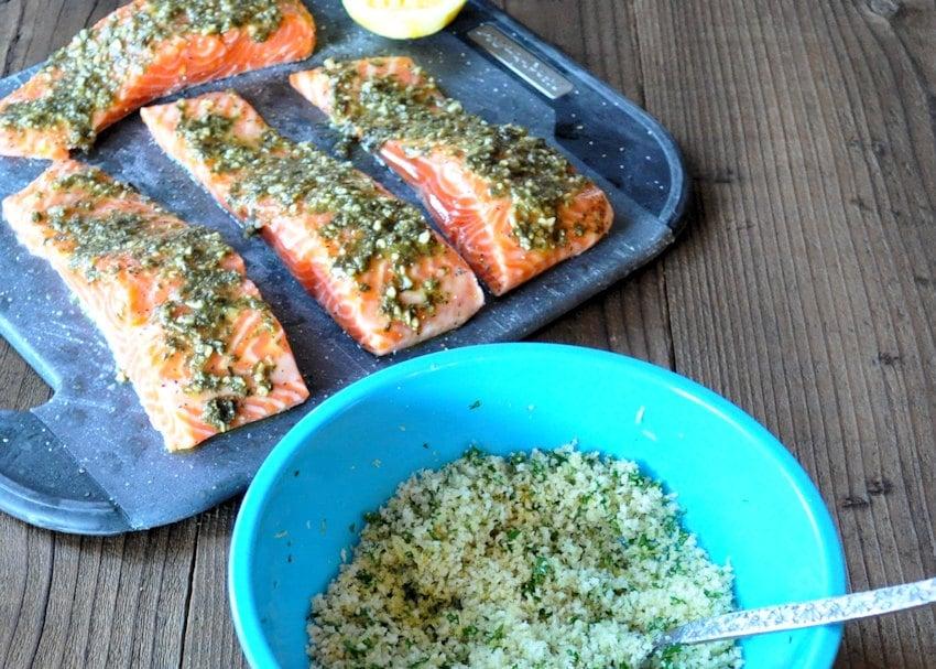 Simple Panko Crusted Pesto Salmon