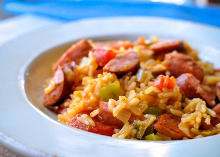 Easy Smoked Sausage Jambalaya in a white bowl