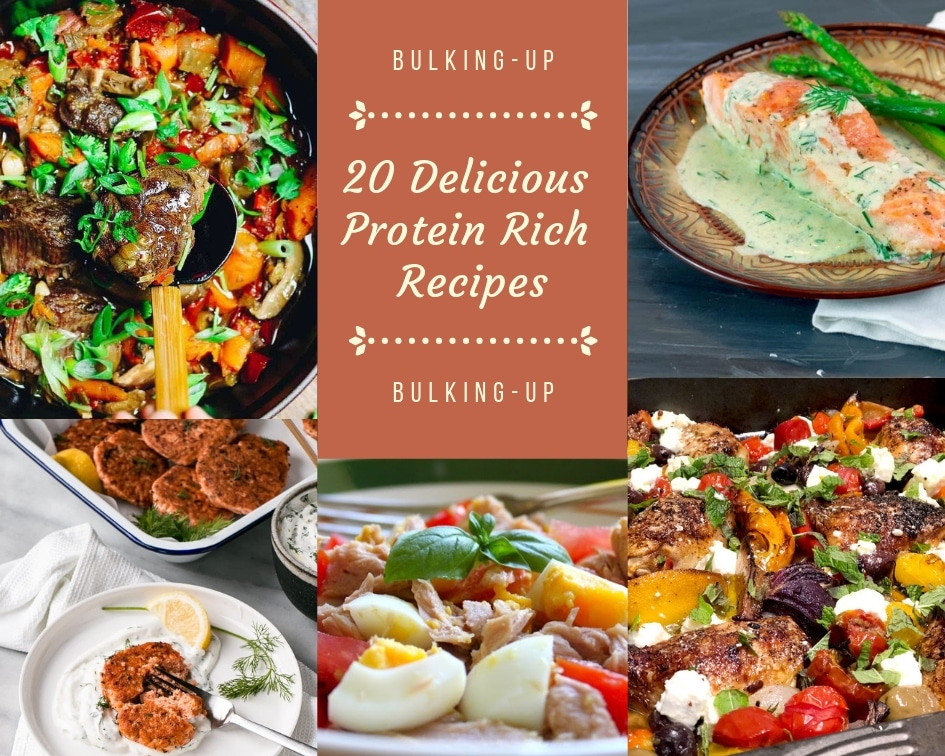 collage photo for 20 delicious protein rich recipes