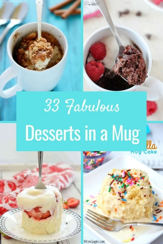 An amazing group of food bloggers contributed to this collection of 33 Fabulous Desserts in a Mug. There is something for everyone. Enjoy!