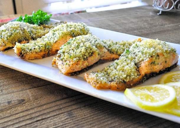 Simple Panko Crusted Pesto Salmon on a white platter