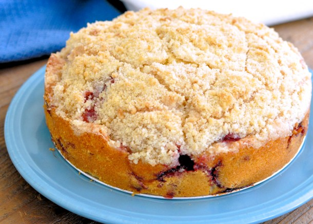 a just baked round strawberry coffee cake