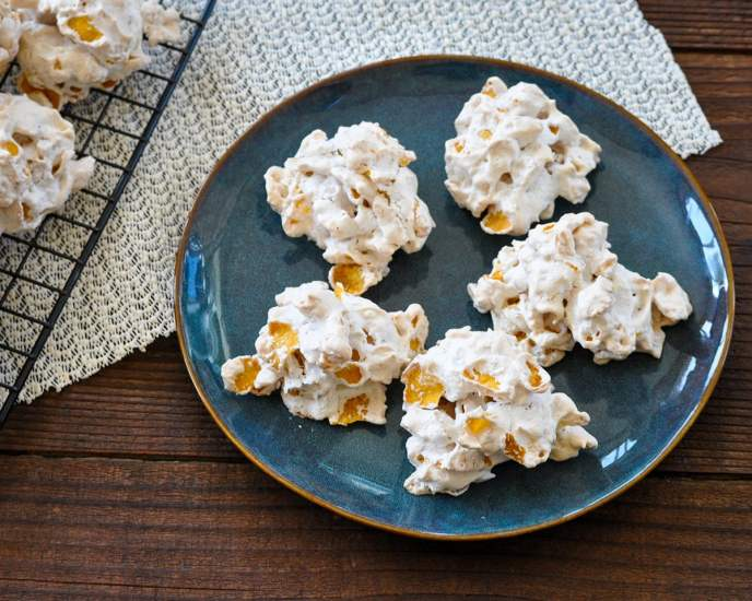 corn flake cookies on a blue plate