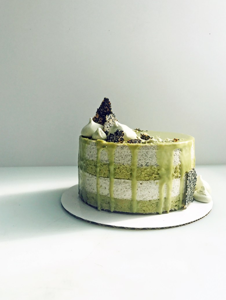matcha black sesame mousse cake