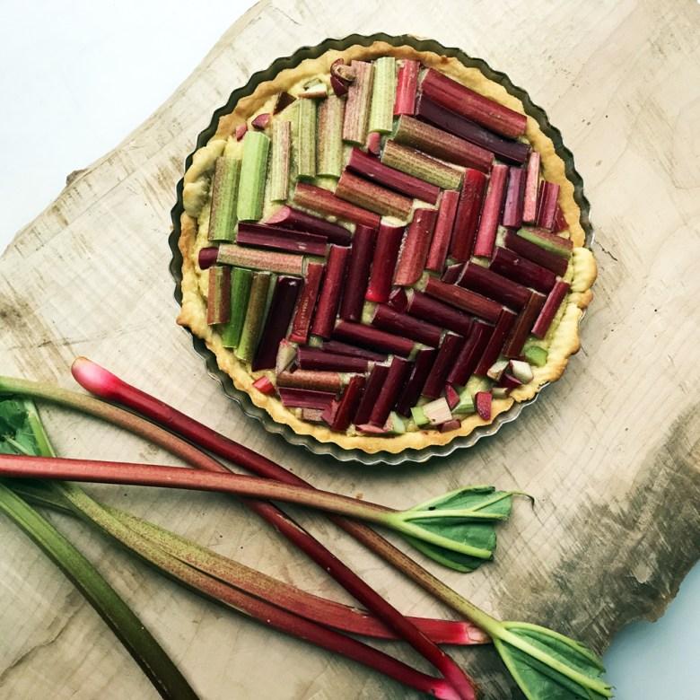rhubarb frangipane tart before bake