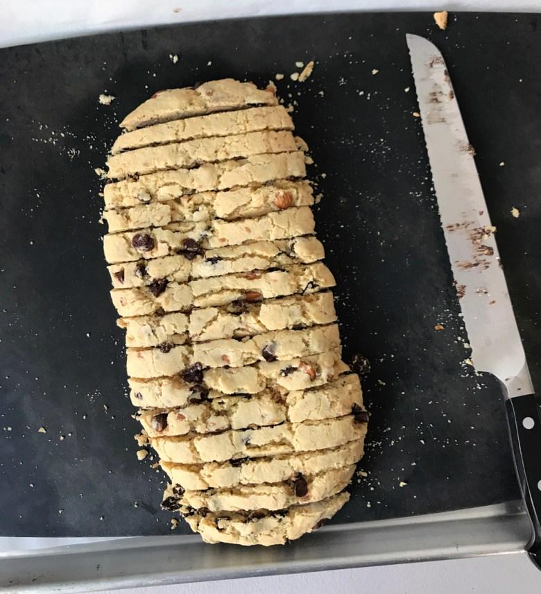 biscotti log sliced