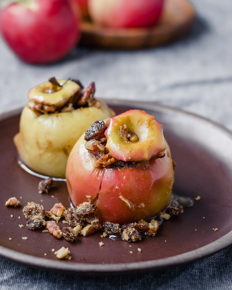 cider baked apples on plate