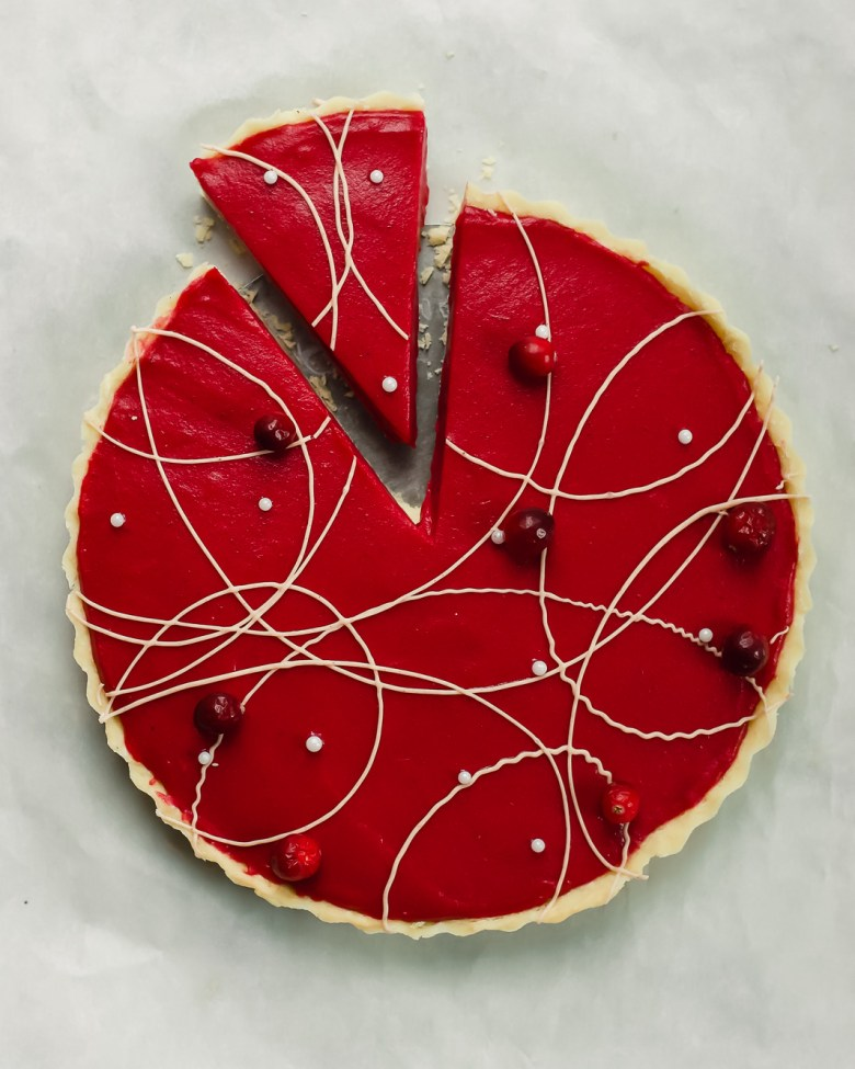 cranberry lime shortbread tart