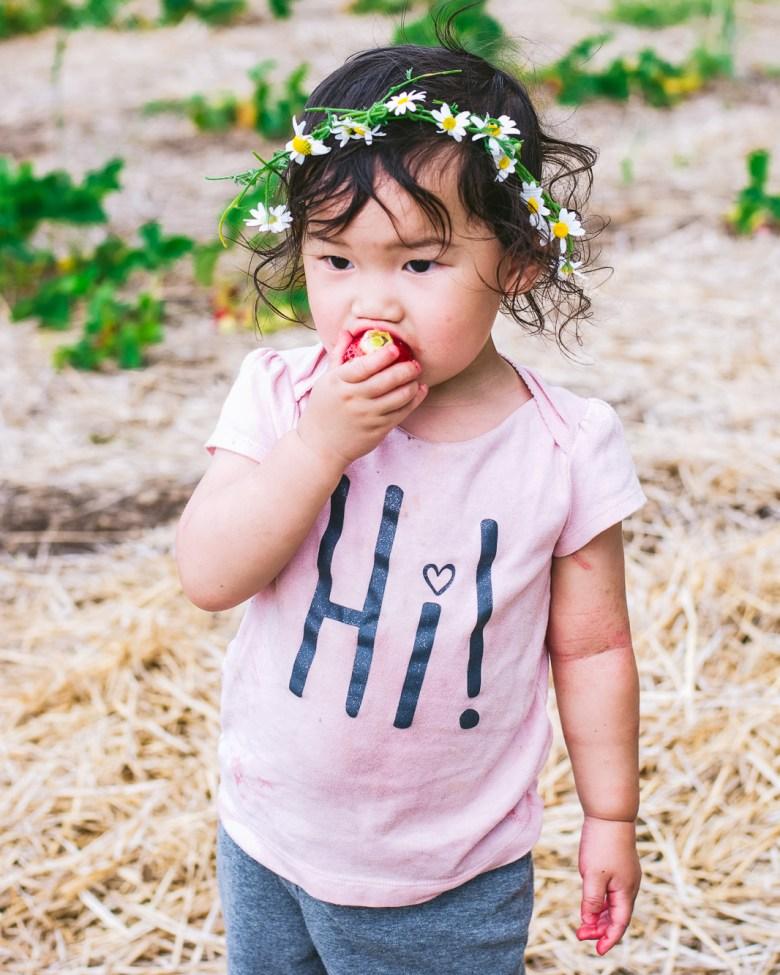 hannah eating strawberry