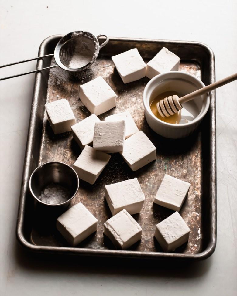 honey marshmallows on tray