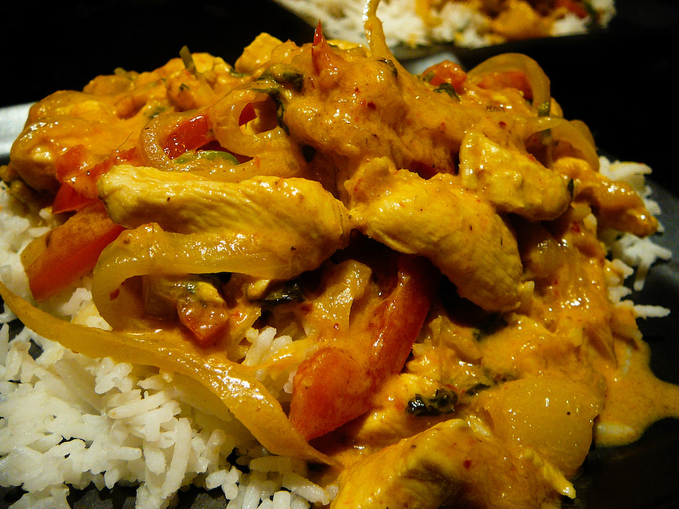 mango chicken curry served 2