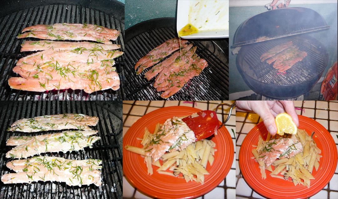 salmon pasta bbq serve it