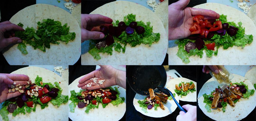 veggie burger wrap assemble