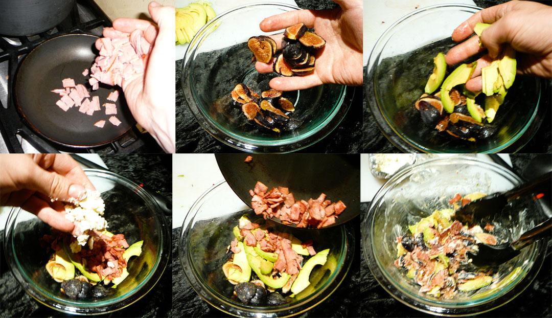 fig avocado bacon assemble