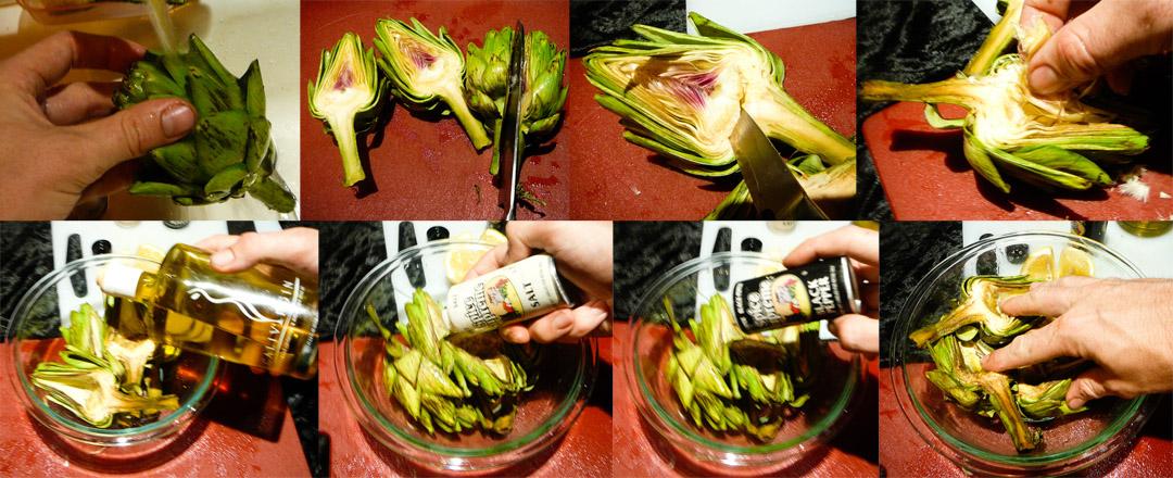 roast artichoke cut marinate