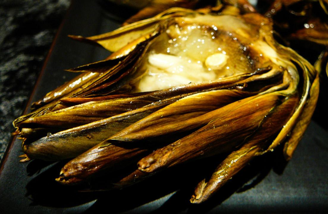roast artichoke served