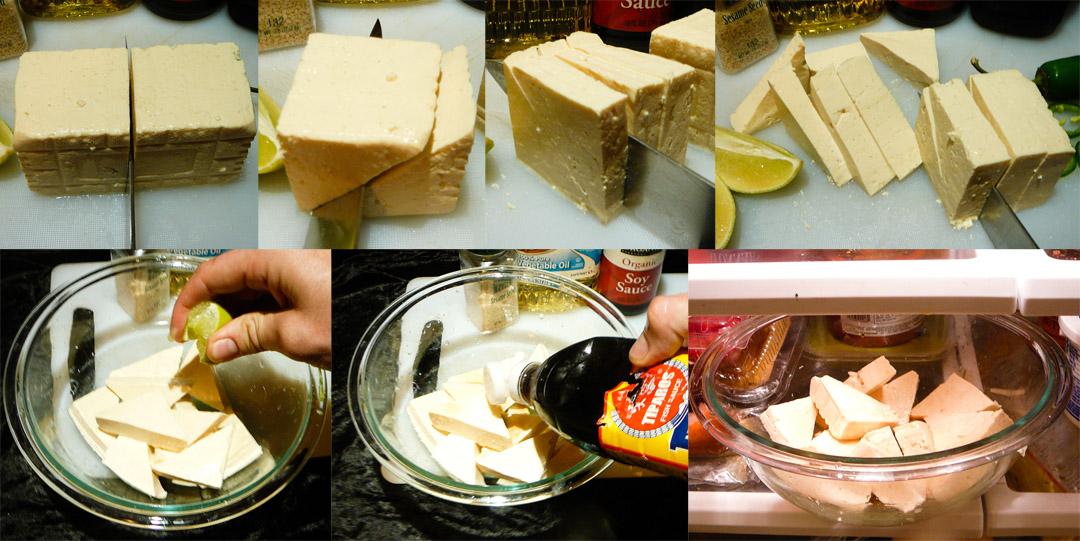 menage a tofu triangles slice marinate