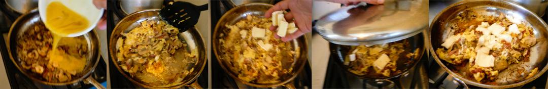 musrhoom bacon brie eggs scramble brie