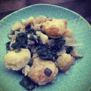 Crushed potatoes with spinach