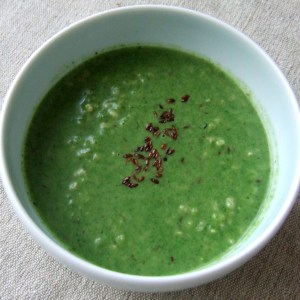 Spinach, coconut and rice soup