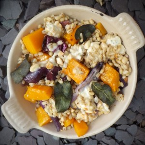 Roast butternut squash with pearl barley and blue cheese