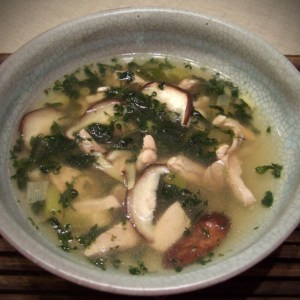 Thai chicken soup with mushrooms