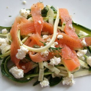 Smoked salmon, zucchini and feta salad