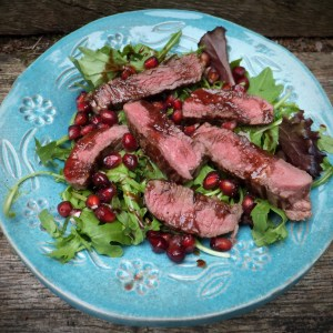 Steak salad with pomegranate dressing
