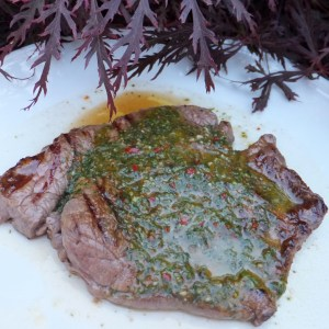 Steak with basil sauce
