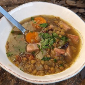 Simple lentil and ham soup