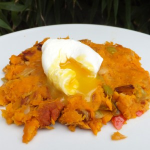 Sweet potato and bean hash with chorizo