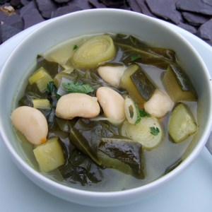 Spring vegetables and butter beans soup