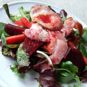 Spiced beetroot and bacon salad