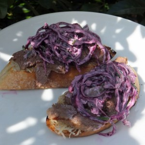 Steak and red cabbage sandwich