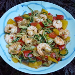 Prawns and red pepper stir-fry