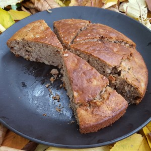 Gluten-free banana and walnut cake