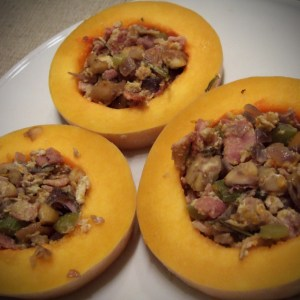 Baked butternut squash with bacon and chestnuts