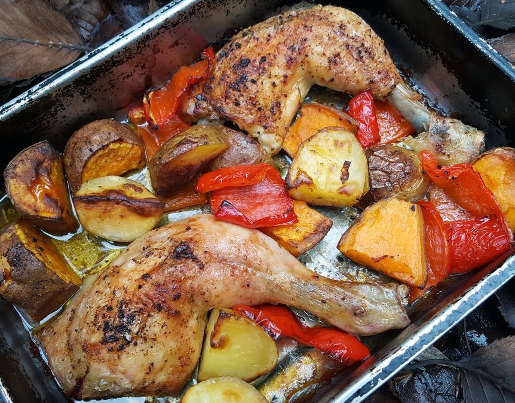 Cajun chicken & potato traybake