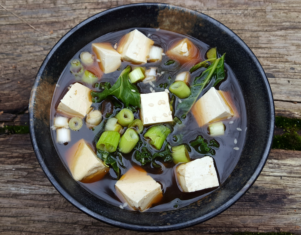 Miso and kale soup
