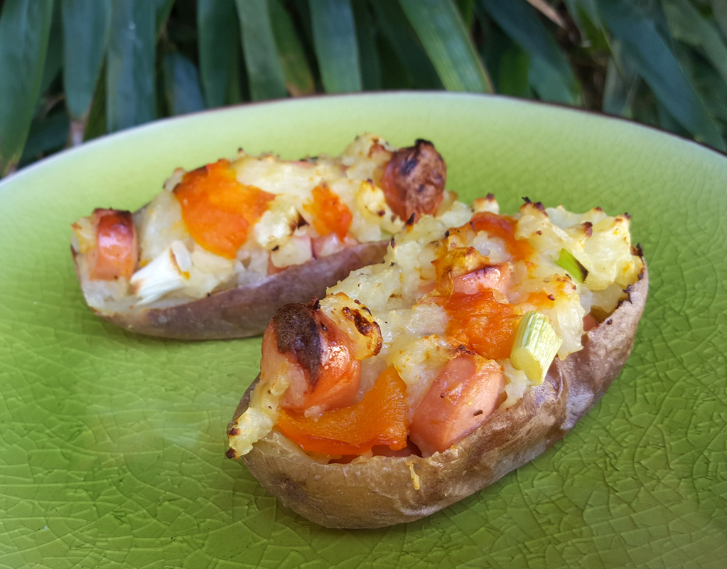 Cheese & frankfurter loaded potato skins
