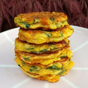 Chorizo & spinach fritters