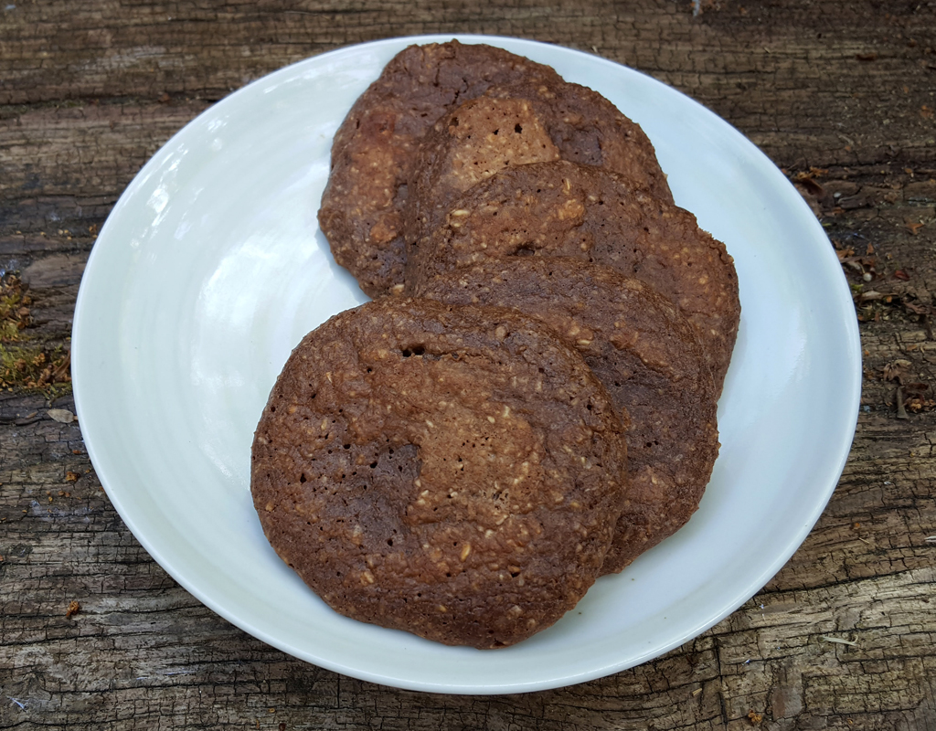 Coconut, oat and cocoa pancakes