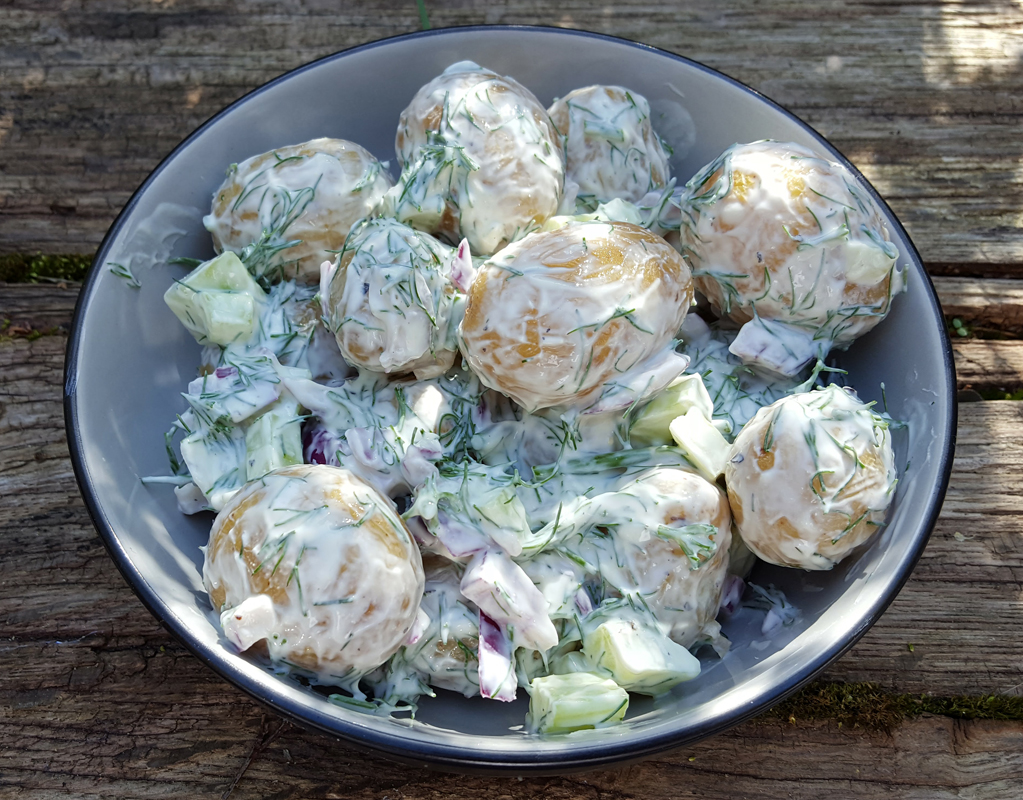 Creamy potato salad with dill
