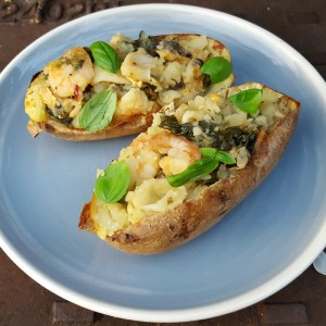 Seafood loaded potato skins