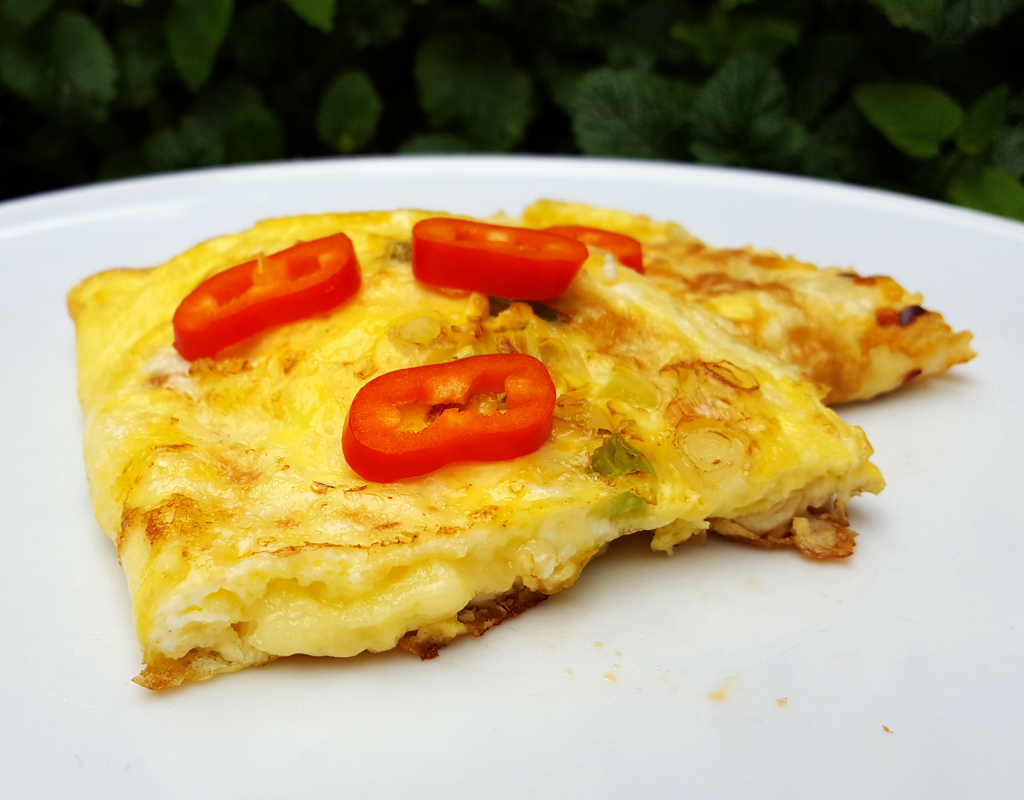 Cheese and spring onion omelette